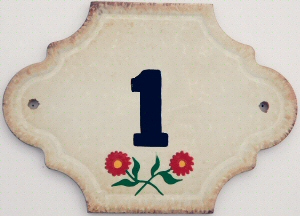 Hand Painted House Number Tile 1