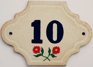 Hand Painted House Number Tile 10