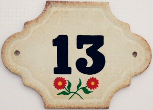 Hand Painted House Number Tile 13