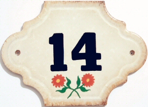 Hand Painted House Number Tile 14