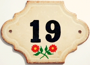 Hand Painted House Number Tile 19
