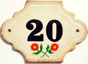 Hand Painted House Number Tile 20