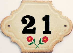Hand Painted House Number Tile 21