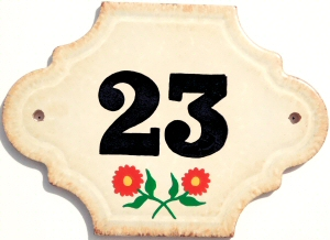 Hand Painted House Number Tile 23
