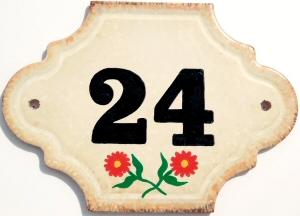 Hand Painted House Number Tile 24