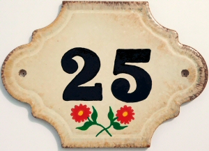 Hand Painted House Number Tile 25