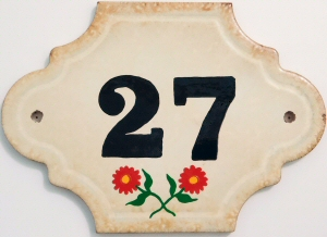 Hand Painted House Number Tile 27