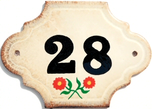 Hand Painted House Number Tile 28