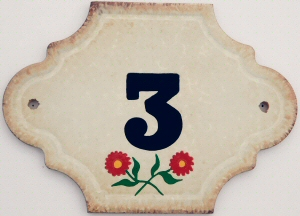 Hand Painted House Number Tile 3