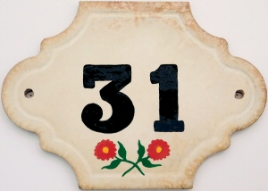 Hand Painted House Number Tile 31