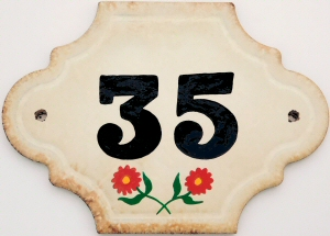 Hand Painted House Number Tile 35