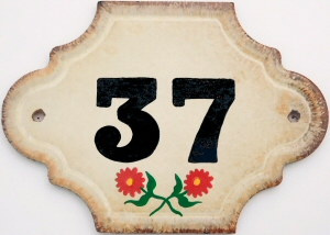 Hand Painted House Number Tile 37