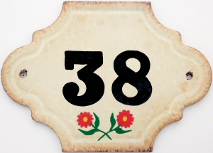 Hand Painted House Number Tile 38