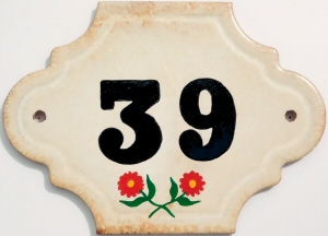 Hand Painted House Number Tile 39