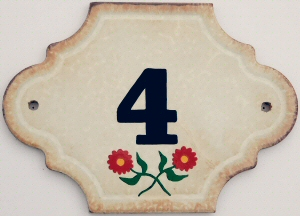 Hand Painted House Number Tile 4