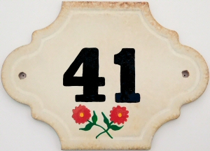 Hand Painted House Number Tile 41