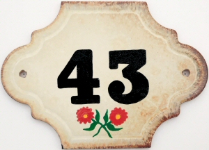 Hand Painted House Number Tile 43