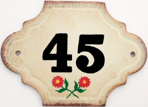 Hand Painted House Number Tile 45