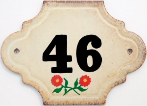 Hand Painted House Number Tile 46
