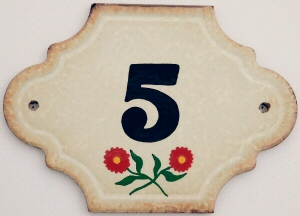 Hand Painted House Number Tile 5