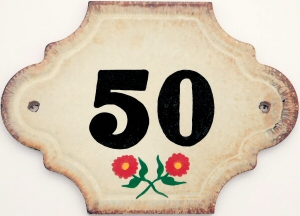 Hand Painted House Number Tile 50