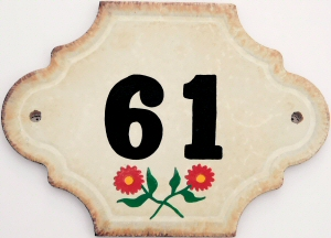 Hand Painted House Number Tile 61