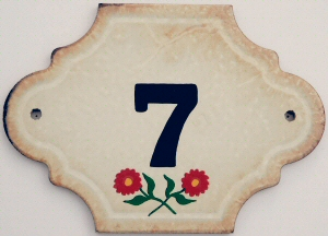 Hand Painted House Number Tile 7