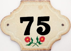 Hand Painted House Number Tile 75