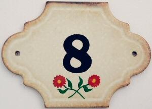 Hand Painted House Number Tile 8