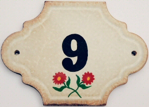 Hand Painted House Number Tile 9